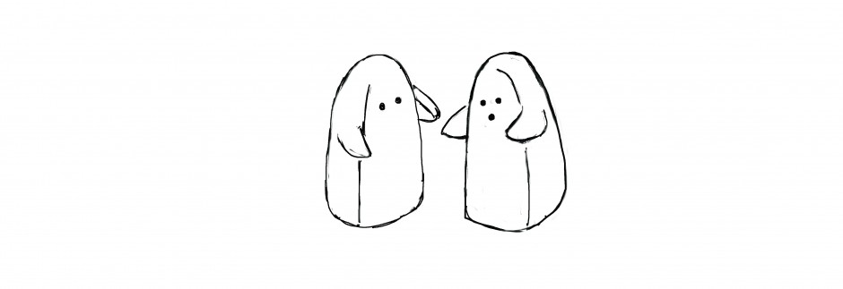 salt and pepper ghost shakers line drawing