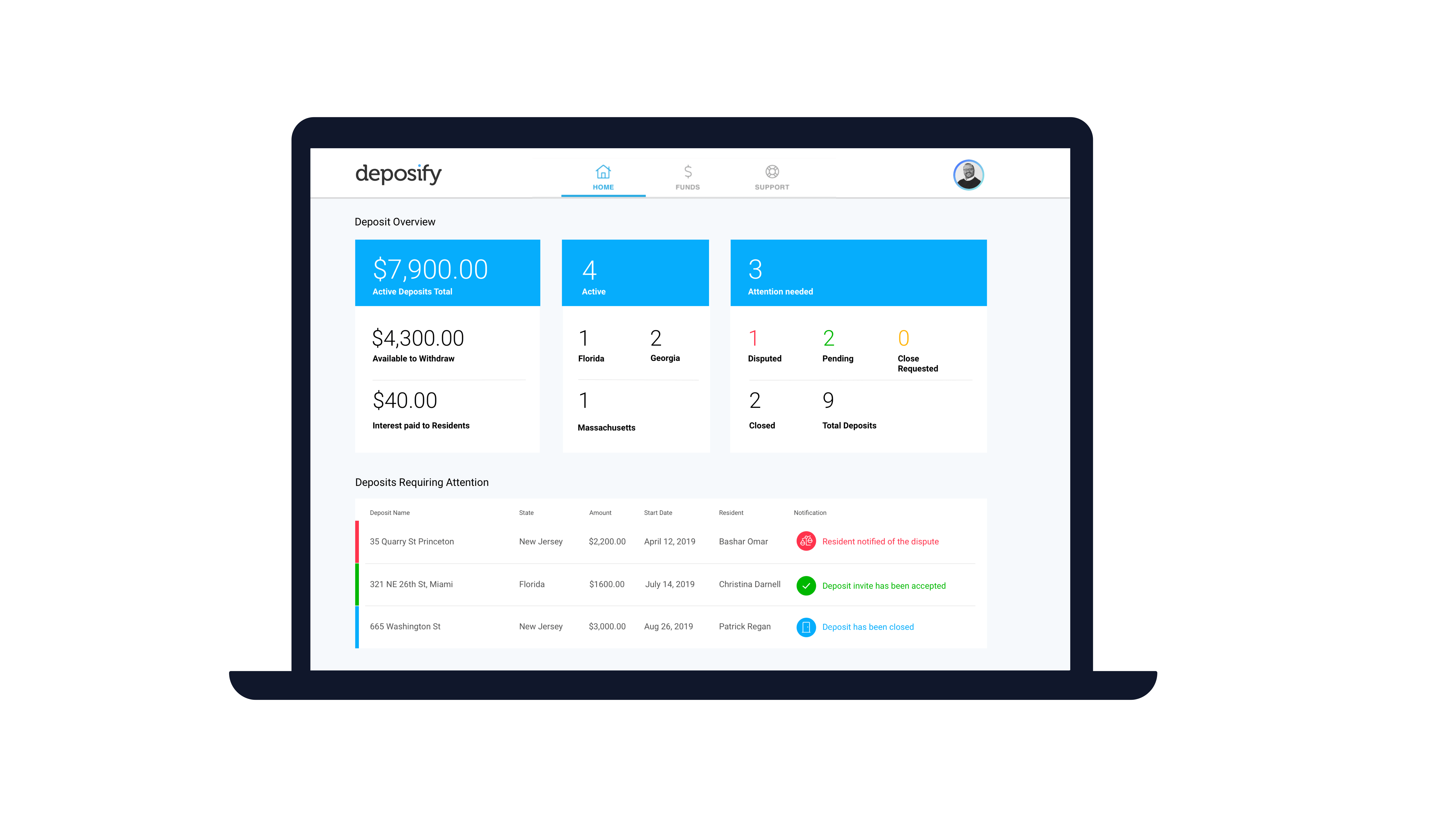 deposify dashboard on a laptop screen