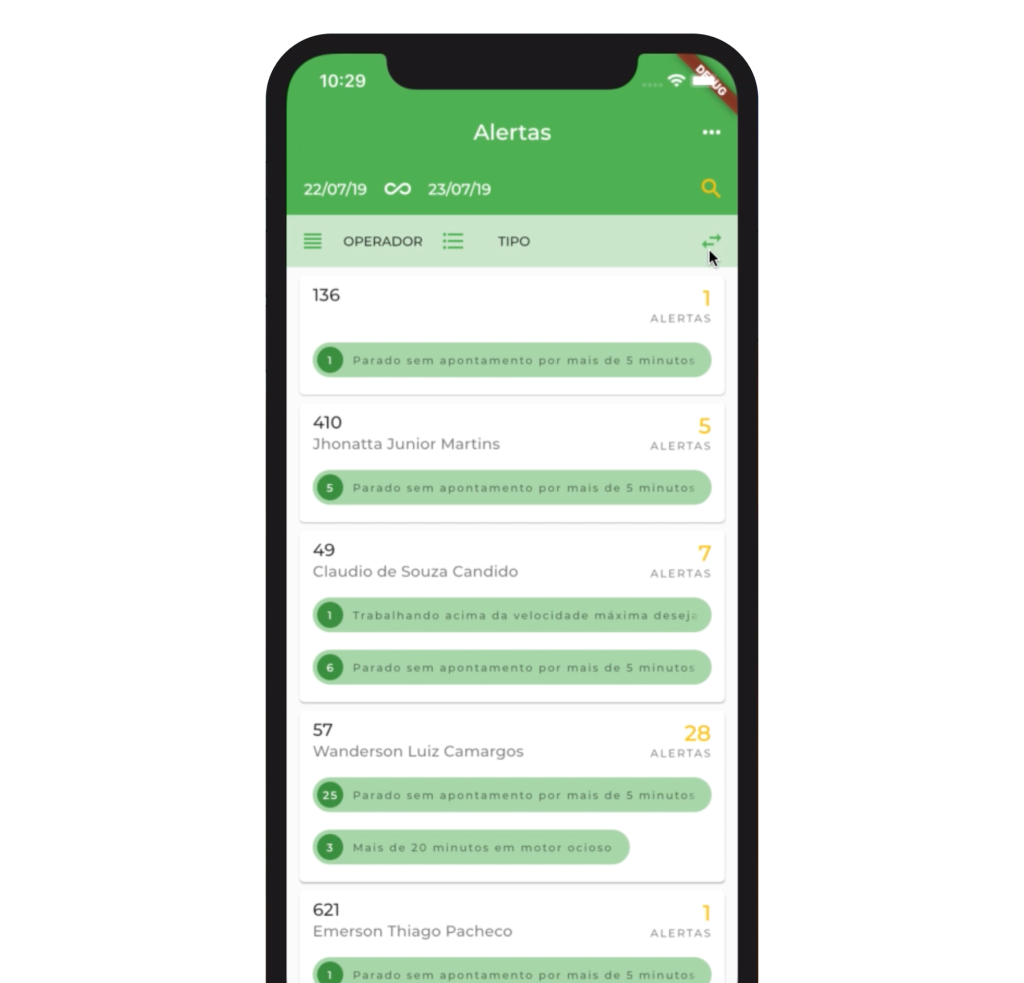 current rex agri app interface in spanish