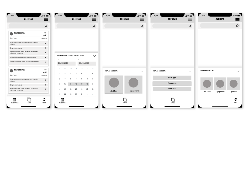 basic wireframes for app design
