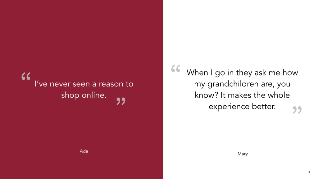 2 quotes from user research around online shopping and the reason they shop at supervalu